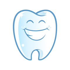 Sympathetic tooth with a big smile, on white background