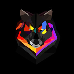 Polygonal wolf vector illustration.