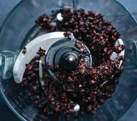 Mulberries in food processor
