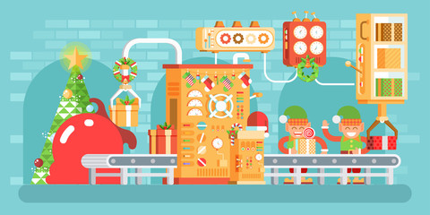 illustration of isolated Christmas conveyor with elves pack gifts near the spruce tree festively dressed up, flat style