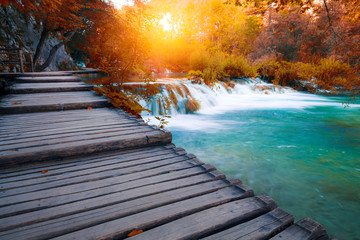 River cascades and waterfall in beautiful fall colors forest