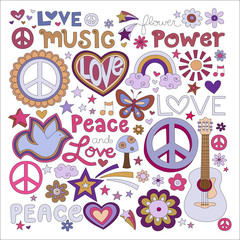 Vector illustrations on a peace and love background