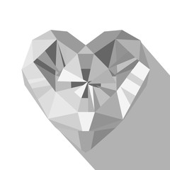 Polygonal white crystal diamond heart logo flat style vector illustration.