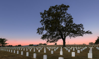 Sunrise at the Chattanooga National Cemetery in Chattanooga, Tennessee