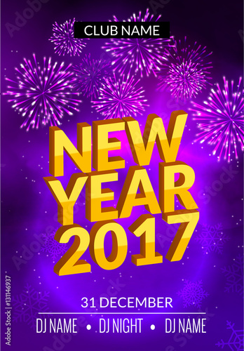 new year party poster design with fireworks light new year disco flyer template celebration