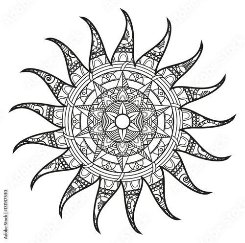 Vector illustration of a black and white mandala sun for for Immagini sole da colorare