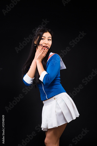 Woman Or Asian Woman Expressing 5