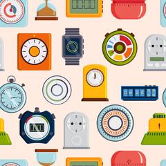 Timer clocks vector pattern.