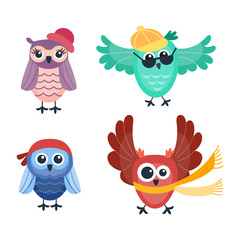 Cartoon owl vector isolated