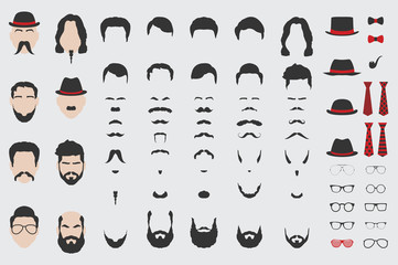 Different vector design elements of men face, beard, mustache, hair, tie and glasses.