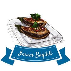 Iman Bayildi colorful illustration.