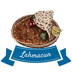 Lahmacun colorful illustration.