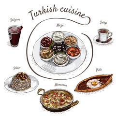 Colorful vector illustration of turkish cuisine.