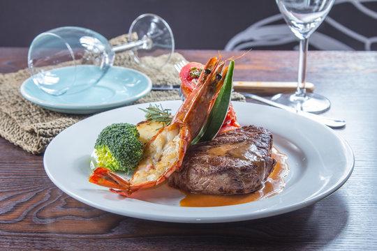 prawn and steak