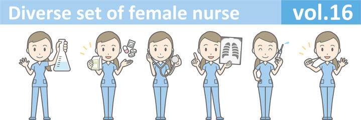 Diverse set of female nurse , EPS10 vector format vol.16