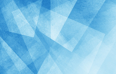 modern abstract blue background design with layers of textured white transparent material in...