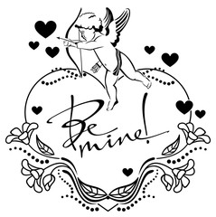"""Black and white heart-shaped label with cupid and  written text:""""Be mine!"""""""