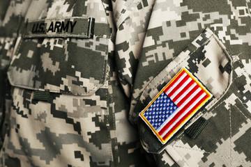 USA flag on shoulder patch, closeup
