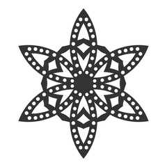 Decorative round ornament. Lace. Silhouette of snowflake isolated on background