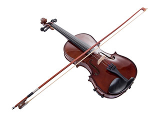 Wooden brown violin with bow