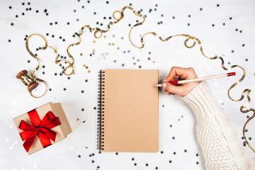 Festive decorations and notebook