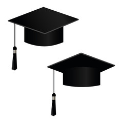 University academic graduation caps with tassel vector illustration. Graduation hat for ceremony, academic black hats