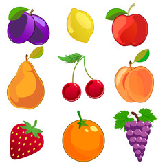 Cartoon fruits vector icons set. Apple, lemon, peach, pear, apricot ,cherry,grapes, strawberry, plum illustration