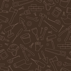 Seamless background on the topic of construction and repair, construction equipment, simple contour icons, light contour on brown background