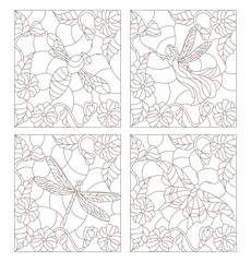 Set contour illustrations in the stained glass style , fairy, bee, butterfly and dragonfly on the background colors