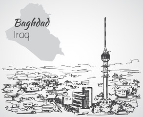 Baghdad cityscape - Iraq. Sketch.