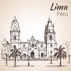 Plaza de armas. Lima, Peru. Sketch.