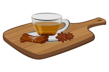 Cup of tea with cinnamon and anise