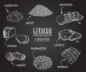 German cuisine. Collection of delicious food in line art style on chalkboard. Concept design for decoration restaurants, menu. Vintage hand drawn vector illustration