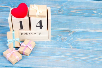 Cube calendar with gifts and red heart, Valentines day