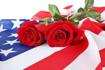 Roses and American flag, closeup