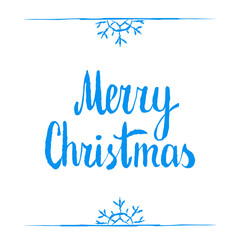 Merry christmas. Calligraphy clip-art, vector illustration. Suitable for poster or web banner. Isolated on white, template with blue snow borders and snowflakes