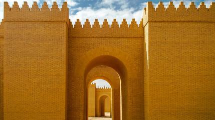 Gate of partially restored Babylon ruins, Hillah, Iraq