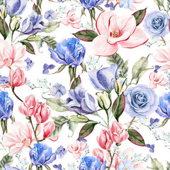 Beautiful watercolor with hydrangeas, roses, magnolia and flowers eustomiya. Illustrations.