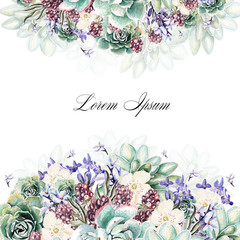 Colorful watercolor greeting card or wedding invitation. With flowers of lavender, succulents and blackberries. Illustrations.