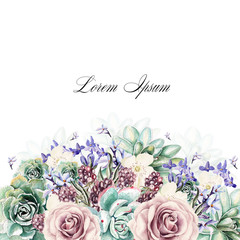 Colorful watercolor greeting card or wedding invitation. With lavender flowers, roses, succulents and blackberries. Illustrations.
