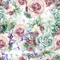 Foto op Canvas Vintage Bloemen Beautiful watercolor pattern with succulents and lavender, rose. Blackberries. Illustrations.