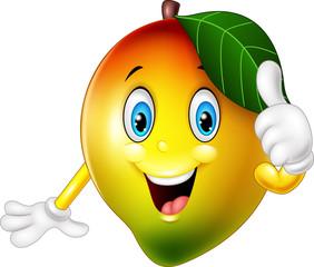 Cartoon mango giving thumbs up