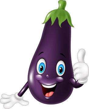 Cartoon eggplant giving thumb up
