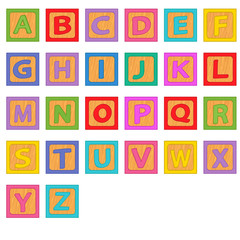 alphabet wooden blocks - vector illustration, eps