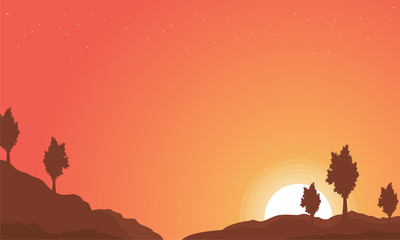 Landscape of hill with orange sky backgrounds
