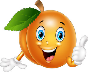Cartoon apricot giving thumbs up