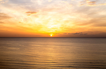 Top view of sunrise above the sea