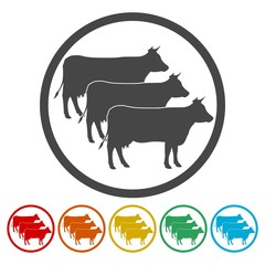 Cow silhouette icons set