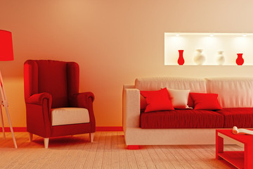 Part of the living room in red and white colors (imitation Christmas). 3d illustration
