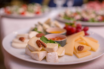 cheeses on the holiday table